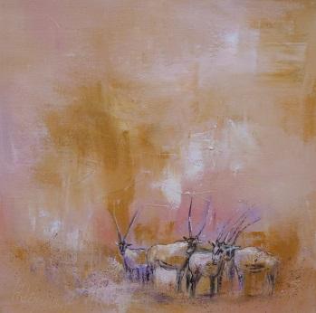 19 Arabische Oryx-Antilopen 40x40 II
